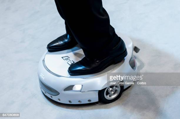 A congress attendant trying the new Ford CarrE during the Mobile World Congress on March 1 2017 in Barcelona Spain