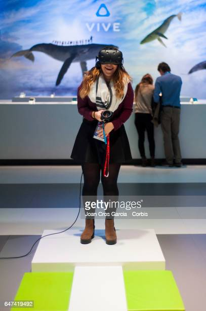 A congress attendee trying the HTC VIVE headset during the Mobile World Congress on March 2 2017 in Barcelona Spain
