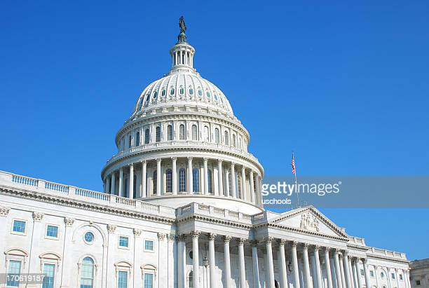 us congress building in washington dc and cloudless blue sky - capitol hill stock pictures, royalty-free photos & images
