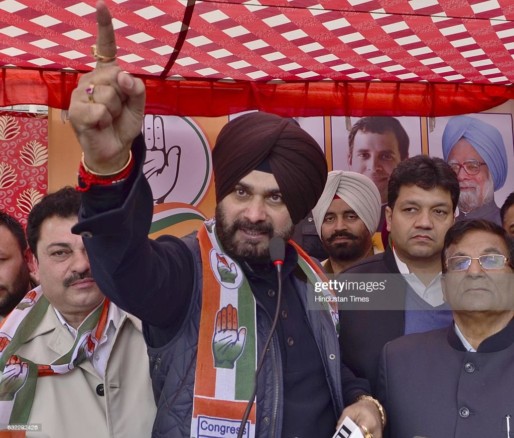 Congress candidate from Amritsar East constituency Navjot Singh Sidhu during a poll meeting on January 21 2017 in Amritsar India Addressing a meeting.