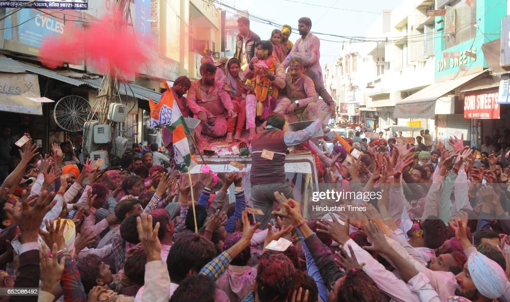 Congress Candidate from Gidderbaha Amrinder Singh Raja Warring celebrating with supporters after landslide victory in Punjab assembly elections on...