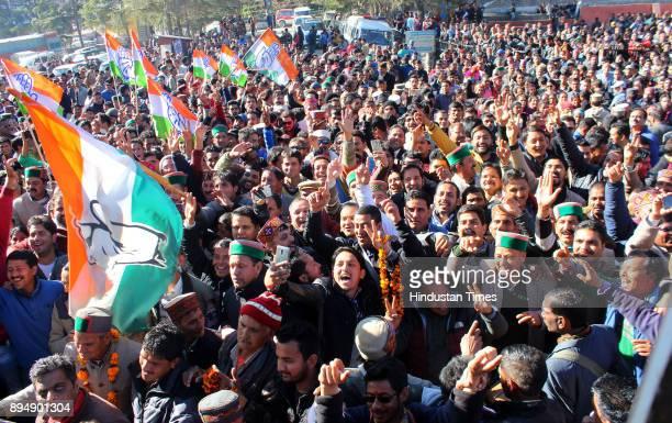 Congress candidate from Kullu Sadar Sundar Singh Thakur celebrates with supporters after win on December 18 2017 in Kullu India In Himachal Pradesh...