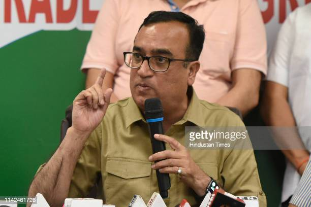 Congress candidate from New Delhi Lok Sabha seat Ajay Maken addresses the media during a press conference at Rajiv Bhawan on May 9 2019 in New Delhi...