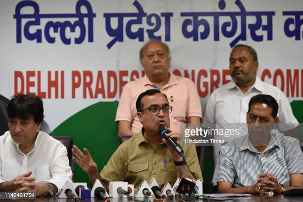 Congress candidate from New Delhi Lok Sabha seat Ajay Maken and Congress leader Haroon Yusuf addresses the media during a press conference at Rajiv...