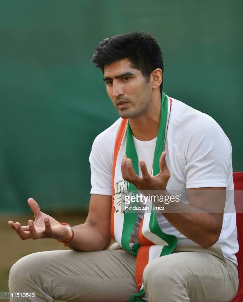 Congress candidate from South Delhi Lok Sabha constituency Vijender Singh during an interview with Hindustan Times ahead of Lok Sabha polls at Vasant...