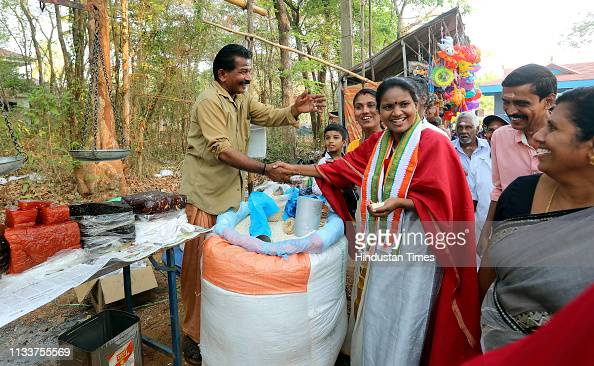 Congress candidate in Kerala Remya Haridas interacting with people