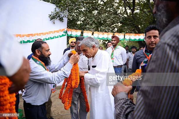 Congress candidate Pawan Bansal during an election campaign for Lok Sabha election 2014 on March 27 2014 in Chandigarh India