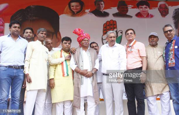Congress candidate Sukhbir Kataria from Gurugram constituency on the last day of the Haryana Assembly election campaign, at Ramleela ground, Bhim...