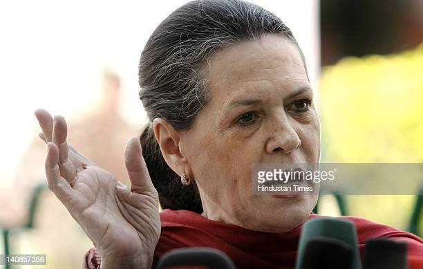 Congress Chairperson Sonia Gandhi addressing the media on After Assembly election results, at AICC Office on March 7, 2012 in New Delhi, India. She...