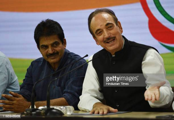 Congress general secretary KC Venugopal and Senior Congress leader Ghulam Nabi Azad during a Congress party briefing on the upcoming Haryana assembly...