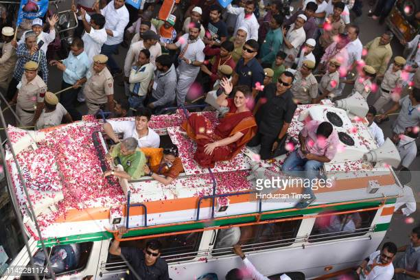 Congress general secretary Priyanka Gandhi Vadra campaigns for Congress candidate from North East Delhi Sheila Dikshit during a roadshow ahead of...