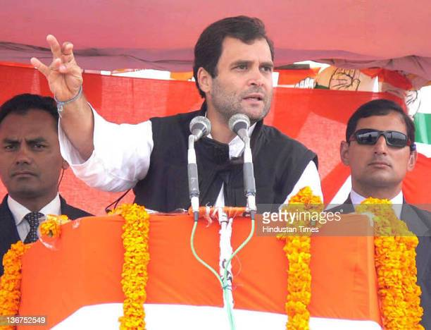 Congress General Secretary Rahul Gandhi addresses the crowd at a public meeting on January 11 2012 in Azamgarh India In Ghandi's speech he attacked...