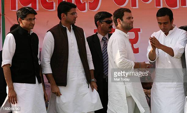 Congress General Secretary Rahul Gandhi and other young leaders at an election rally at Jewar Greater Noida in Uttar Pradesh on Thursday
