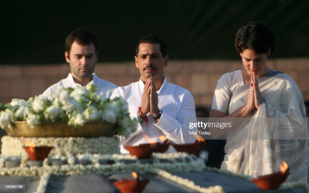 Congress General Secretary Rahul Gandhi, Robert Vadra and Priyanka Gandhi pay tribute to former Prime Minister Rajiv Gandhi on his 19th death anniversary at Veer Bhoomi in New Delhi on May 19, 2010.