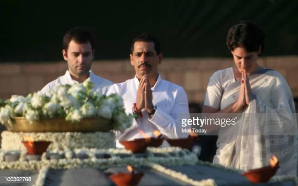 Congress General Secretary Rahul Gandhi Robert Vadra and Priyanka Gandhi pay tribute to former Prime Minister Rajiv Gandhi on his 19th death...