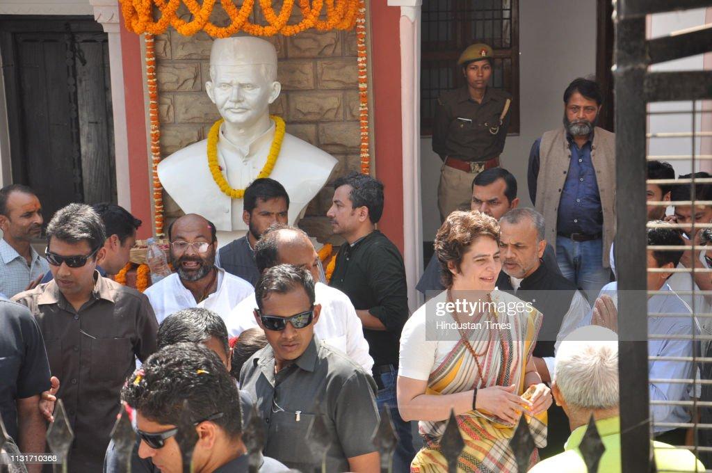 Congress General Secretary Priyanka Gandhi Vadra In Varanasi : News Photo
