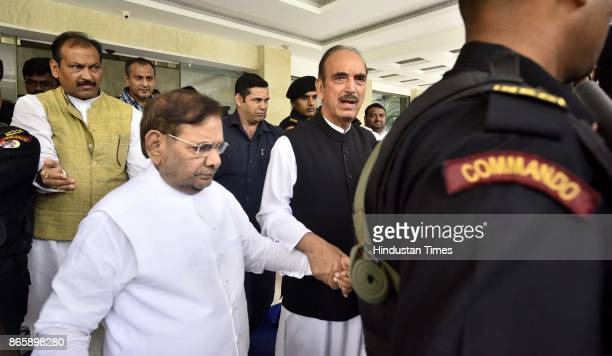 Congress Ghulam Nabi Azad and rebel JD leader Sharad Yadav during Press Conference at Speakers Hall Constitution Club on October 24 2017 in New Delhi...