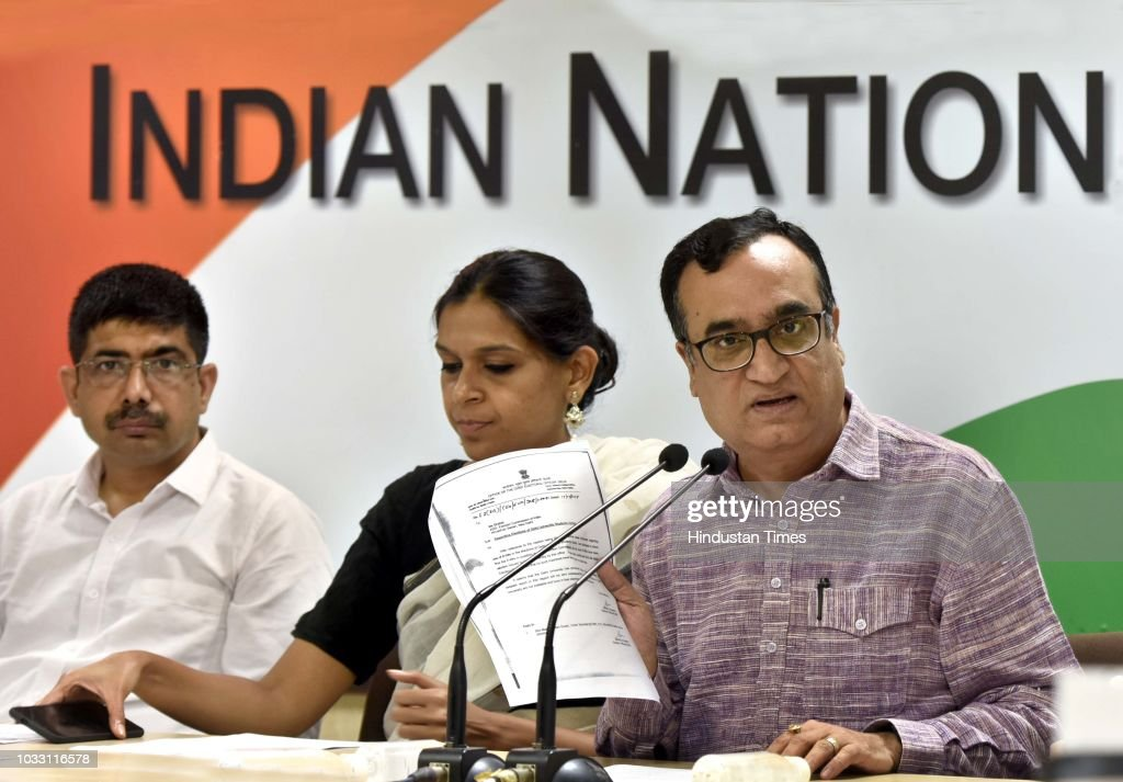 Congress leader Ajay Maken along with Ruchi Gupta, Joint Secretary, In-charge of NSUI and other office bearers during a press conference on the outcome and result in Delhi University Students Union (DUSU) elections at AICC office, Akbar Road, on September 14, 2018 in New Delhi, India.