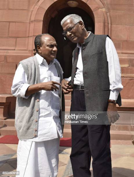 Congress leader AK Antony and CPI leader D Raja during the second leg of the Budget Session at Parliament on March 9 2017 in New Delhi India The...