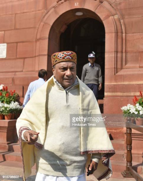 Congress leader AK Antony during the Budget Session at Parliament on February 8 2018 in New Delhi India Continuous sloganeering and protests by...