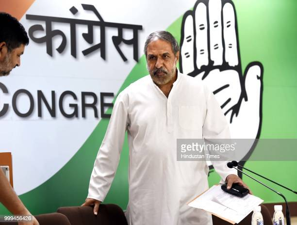 Congress leader Anand Sharma during a press conference at AICC on uly 15 2018 in New Delhi India Congress slammed PM Modi for claiming the party...