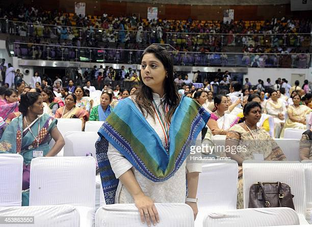 Congress leader and film actress Nagma during the Sankalp Diwas on the occasion of former Prime Minister Rajiv Ghandhi's 70th birth anniversary at...