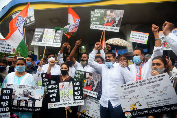 IND: Congress Leader Bhai Jagtap With Party Workers Stage A Protest Against Petrol And Diesel Price Hike