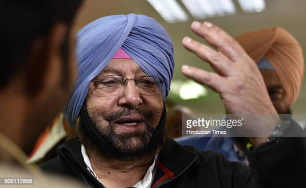 Congress leader Captain Amarinder Singh after the press conference to announce the merging of PPP with Congress at AICC Headquarters on January 15...