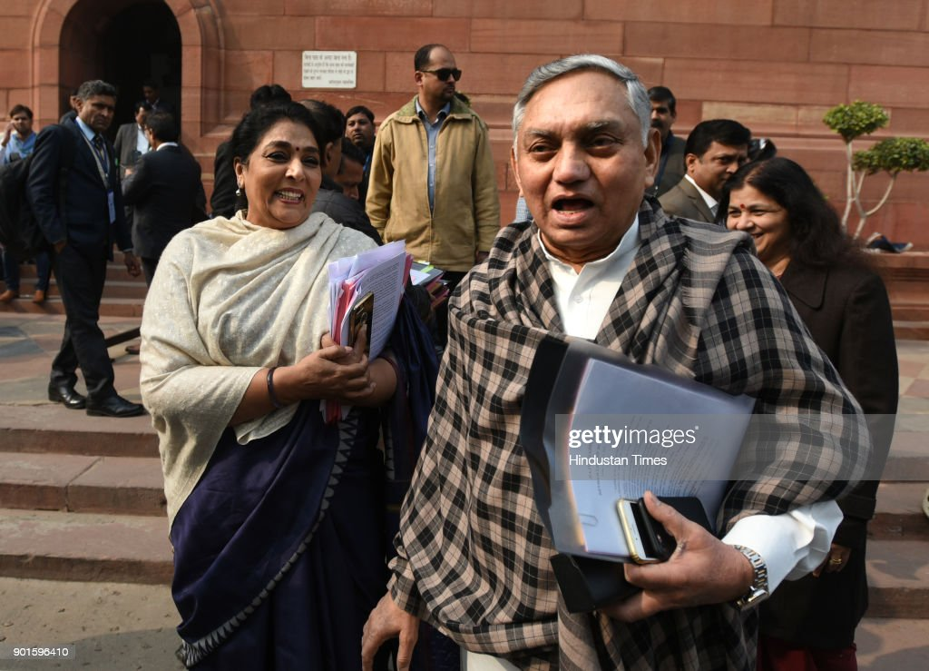 Congress leader Janardhan Dwivedi and Renuka Chaudhary share light moment during the last day of the parliament winter session at Parliament House on January 5, 2018 in New Delhi, India. The last day of the winter session of Parliament concluded on Friday without passing the triple talaq bill in Rajya Sabha. The triple talaq bill, which criminalizes the practice of instant divorce among Muslims, was tabled in the Rajya Sabha on Wednesday. The Congress and the opposition parties, which have numbers in their favour in the upper house, want the proposed legislation to be referred to the Select Committee, but the BJP has rejected the demand.