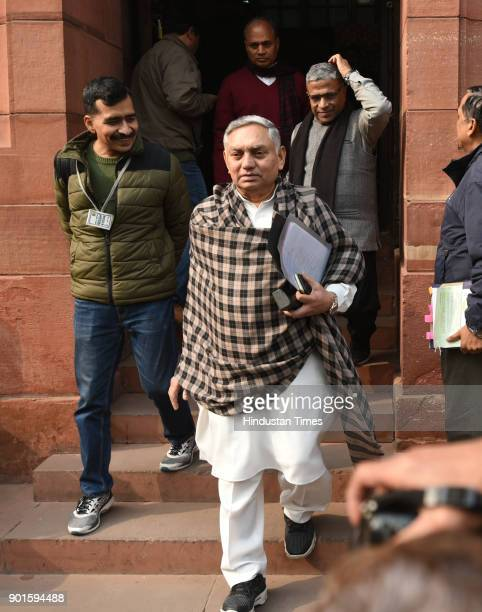Congress leader Janardhan Dwivedi coming out after completing his term as Rajya Sabha MP during the last day of the parliament winter session at...