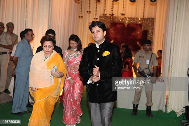 NEW DELHI INDIA OCTOBER 18 Congress Leader Jyotiraditya Madhavrao Scindia and his mother Madhavi Raje Scindia during SaifKareena Wedding Reception at...
