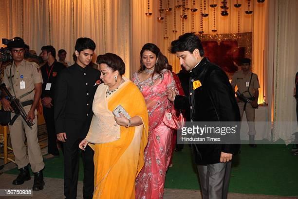 NEW DELHI INDIA OCTOBER 18 Congress Leader Jyotiraditya Madhavrao Scindia and his mother Madhavi Raje Scindia during SaifKareena Wedding Reception at...