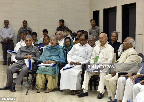 Congress Leader Karan Singh Ambika Soni P Chidambaram Sushilkumar Shinde and other party leaders attending Indian National Congress 84th Plenary...