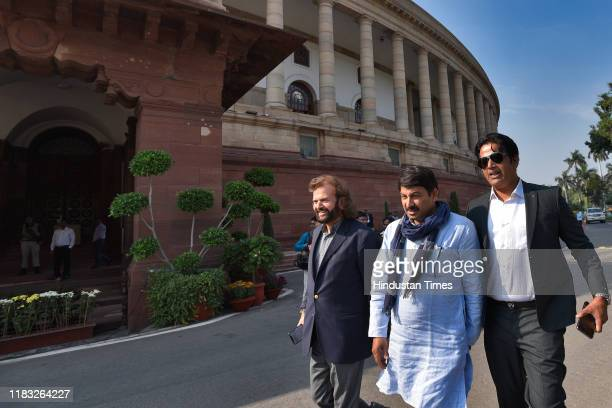 Congress leader Karti Chidambaram along with other ministers during the first day of the winter session of Parliament on November 18 2019 in New...