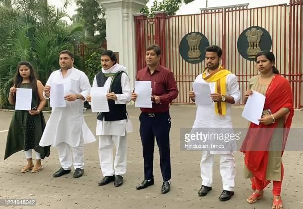 Congress leader Lalan Kumar with team coming out after submitting memorandum to Bihar Governor Phagu Chauhan at Raj Bhawan in Patna on Bollywood...