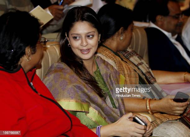 Congress leader Nagma during the AICC meeting after the two days 'Chintan Shivir' at Birla Auditorium Jaipur on January 20 2013 in Rajasthan India