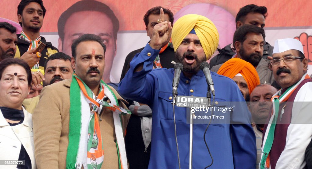 Congress leader Navjot Singh Sidhu addressing along with party leaders during the rally of Congress candidate Sanjay Talwar from Ludhiana East at...