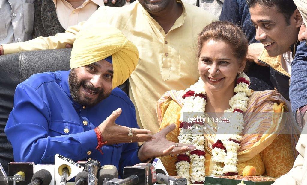 Congress leader Navjot Singh Sidhu along his wife Dr Navjot Kaur Sidhu addressing media after landslide victory in Punjab assembly elections on March.