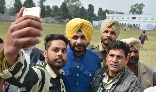 Congress leader Navjot Singh Sidhu celebrating after landslide victory in Punjab assembly elections on March 11 2017 in Amritsar India Sidhu said...