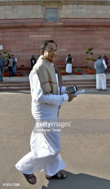 Congress leader P Chidambaram after attending the Parliament during the Budget Session at Parliament House on February 9 2018 in New Delhi India