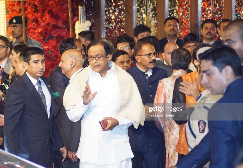 Congress leader P Chidambaram at the wedding of Mukesh Ambani's