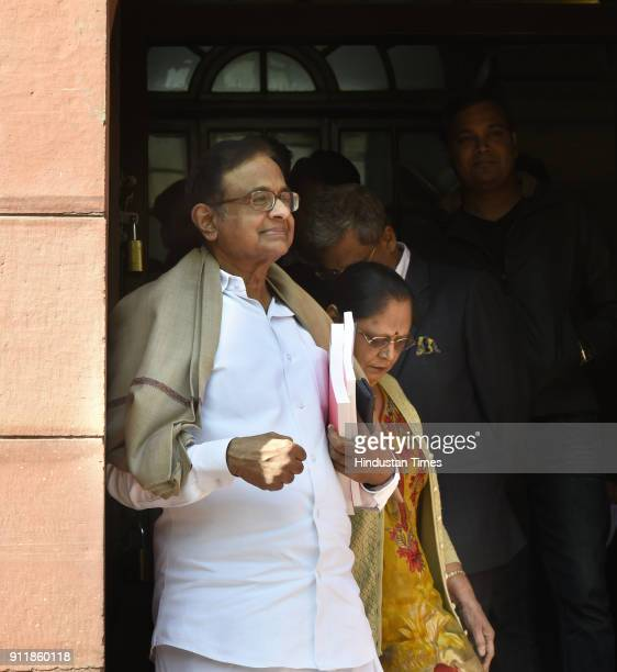 Congress leader P Chidambaram on the first day of Budget Session at Parliament House on January 29 2018 in New Delhi India The Budget Session...