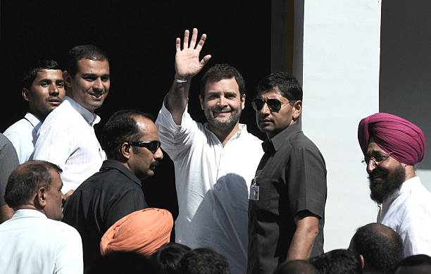 Congress leader Rahul Gandhi along with punjab congress president Partap Singh Bajwa at Punjab University Campus on October 16 2014 in Chandigarh...