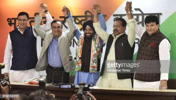 Congress Leader Randeep Surjewala Former BJP Leader Arvinder Singh Lovely Congress Leader Ajay Maken and PC Chacko and Haroon Yusuf during a press...