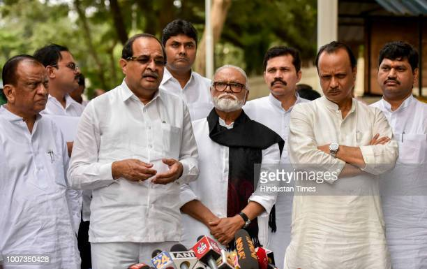 Congress leader Sharad Ranpise Radhakrishna Vikhe Patil NCP leader Chhagan Bhujbal Ajit Pawar Dhananjay Munde and MLC Kapil Patil brief media after...