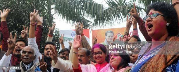 Congress leaders and supporters celebrate after Congress result in Assembly Elections on December 11 2018 in Patna India Congress workers burst...