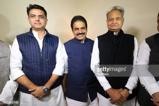 Congress leaders Ashok Gehlot , Sachin Pilot , K.C. Venugopal after the declaration of Rajasthan Assembly election result in Jaipur,Rajasthan,India...