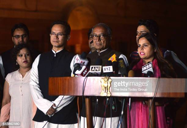 Congress leaders Digvijay SinghGaurav Gogoi and Amrita Dhawan with a delegation of students after a meeting with President Pranab Mukherjee at...