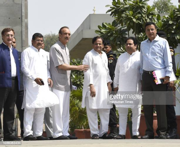Congress leaders Anand Sharma Ahmed Patel and others after meeting with the Comptroller and Auditor General of India on Rafale issue at Deen Dayal...