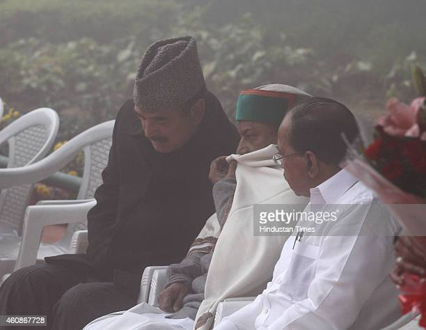 Congress leaders Ghulam Nabi Azad AK Antony Veerapa Moily Ghulam Nabi Azad and others after flag hoisting during Congress Partys 130th foundation day...